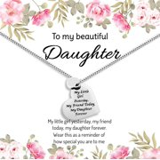 Daughter Necklace Jewelry Gift from Mom or Dad - ''MY LITTLE GIRL YESTERDAY MY FRIEND TODAY MY DAUGHTER FOREVER'' Valentine Heart Pendant Necklace for Teen Girls, Women (Silver Tone)