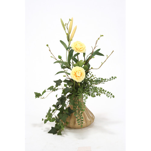 Distinctive Designs Silk Floral Ranunculus Arrangement in Fluted Vase
