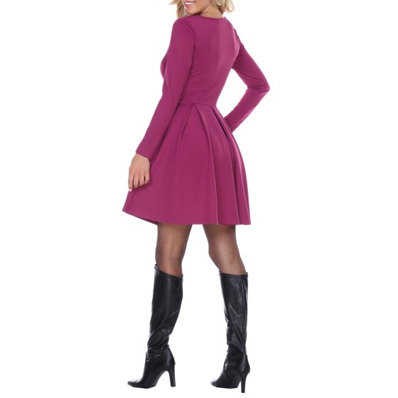 White Mark - Women's Long Sleeve Fit and Flare Dress - Walmart.com