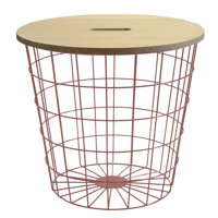 WOOD TOP WIRE STORAGE, Rose Gold