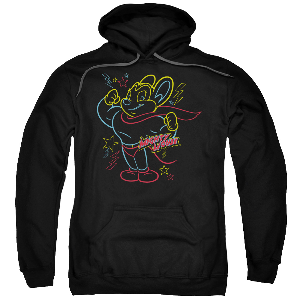Mighty Mouse Neon Hero Mens Pullover Hoodie