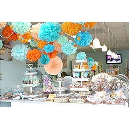Life Glow Pom Poms 10 Pcs Multi-Colors Tissue Paper Craft  Flowers Wedding Party Decoration 5 pcs 12