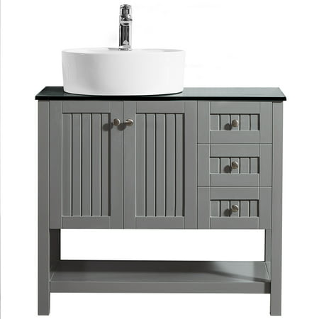 Modena 36 vanity in grey with glass countertop with white - Walmart bathroom vanities with sink ...
