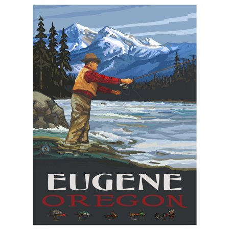 Eugene Oregon Fly Fisherman Stream Mountains Travel Art Print Poster by Paul A. Lanquist (9