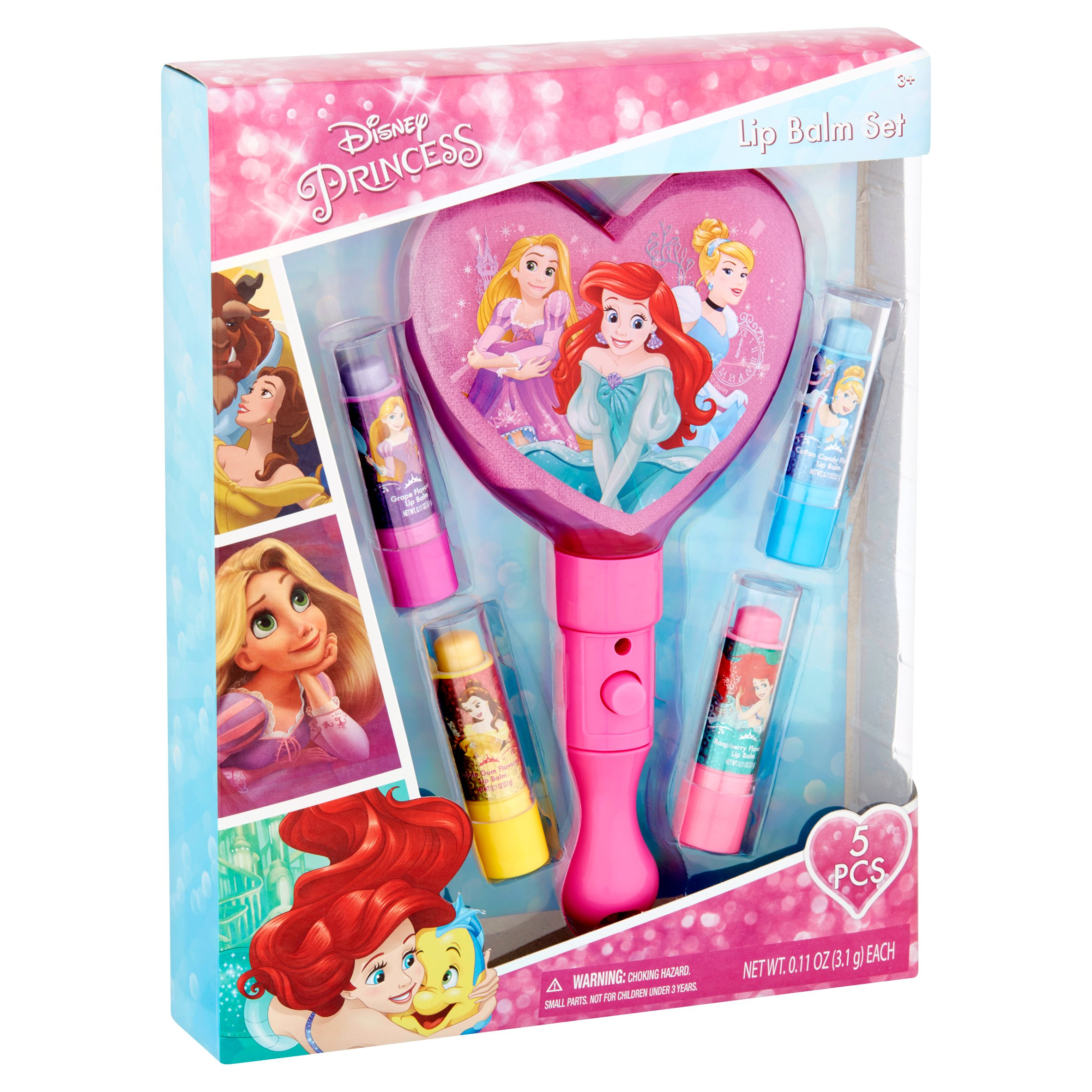 Townley Girl Disney Princess 4PK Lip Balm with Light Up Mirror