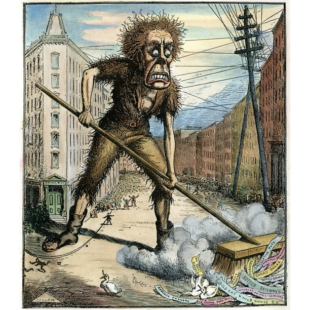 Cartoon Wall Street 1873 Npanic As A Health Officer Sweeps The Garbage Out Of Wall Street A Contemporary Comment On The - Walmart.com - Walmart.com