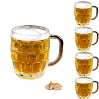 Set of 4 Dimple Stein Irish Beer Glass Mug With Handle-16 oz,Clear
