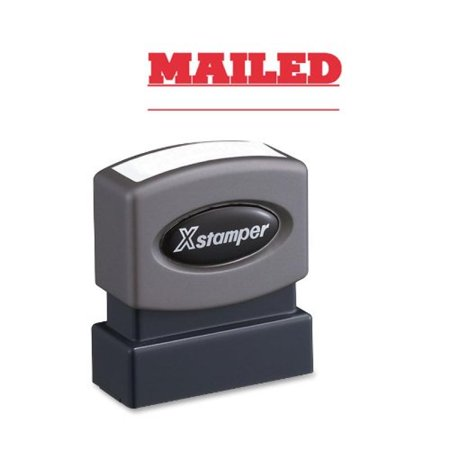 Xstamper 1218 MAILED with Space for Initial or Date, Pre Inked Laser Engraved Rubber Stamp, Red Ink, Impression Size: 1/2 x 1-5/8