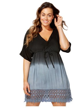 Swimsuits For All Women's Plus Size Ombre Tunic Swimsuit Cover Up