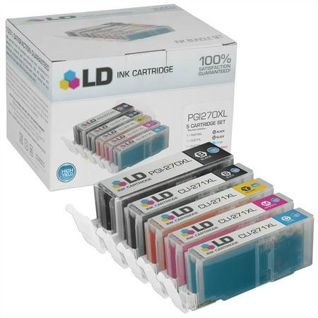 Compatible Canon PGI270XL & CLI271XL Set of 5 Ink Cartridges: 1 Pigment Black PGI270XL & 1 Each of CLI271XL Black, Cyan, Magenta, (38 Magenta Pigment)