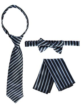 d18927835879a Product Image Gioberti Boys Sky Blue Stripe Zipper Necktie Bow Tie Pocket  Square 3 Pc Set