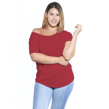 d1a4777e7ac675 Awkward Styles Plus Size Off The Shoulder Shirt Casual Loose Shirts for  Women Oversized Tshirt Plus