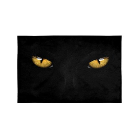 MKHERT Yellow Eyes Black Panther On Dark Background Halloween Theme Placemats Table Mats for Dining Room Kitchen Table Decoration 12x18 inch,Set of 6