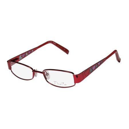 New Thalia Pasion Childrens/Kids/Girls Designer Full-Rim Red Stylish For Girls Teens Fancy Frame Demo Lenses 43-16-120 Spring Hinges (Stylish Specs Frames)