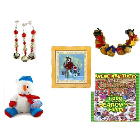 Christmas Fun Gift Bundle [5 Piece] - Set of 3 Jingle Bell Dangle Ornaments - String of Gingerbread  w/ Wood Stars & Hearts 4.5' Feet  - Warm Winter Blessings Snowman Family Hot Plate Trivet - Snowm (Jingle Bells On String)
