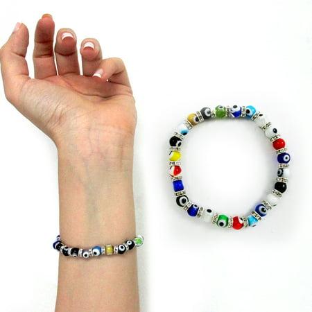 Glass Bead Stretch Bracelet - 6Mm Evil Eye Lampwork Glass Beads Stretch Bracelet Hamsa Nazar Luck Kabbalah New