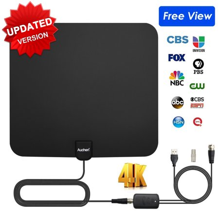 Auchen Digital TV Antenna Indoor 110 Miles Range | 4K HD VHF UHF Freeview for Life Local Channels Broadcast for All Types of Home Smart Television | Never Pay Cable (Coco Chanel Type)