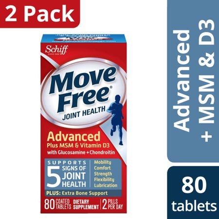 (2 pack) Move Free Advanced Plus MSM and Vitamin D3, 80 count - Joint Health Supplement with Glucosamine and Chondroitin