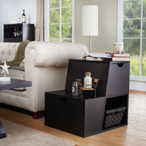Furniture of America Simone Modern Tiered Storage End Table Espresso