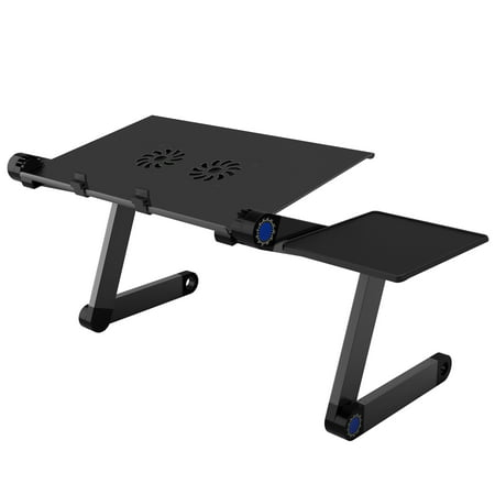 SLYPNOS Adjustable Laptop Stand Folding Portable Standing Desk Cooling Ventilated Aluminum Laptop Riser Tablet Holder Notebook Tray with Cooling Fans, Detachable Mouse Tray for Desk Bed Couch, (Laptops And Tablets For Seniors For Dummies)