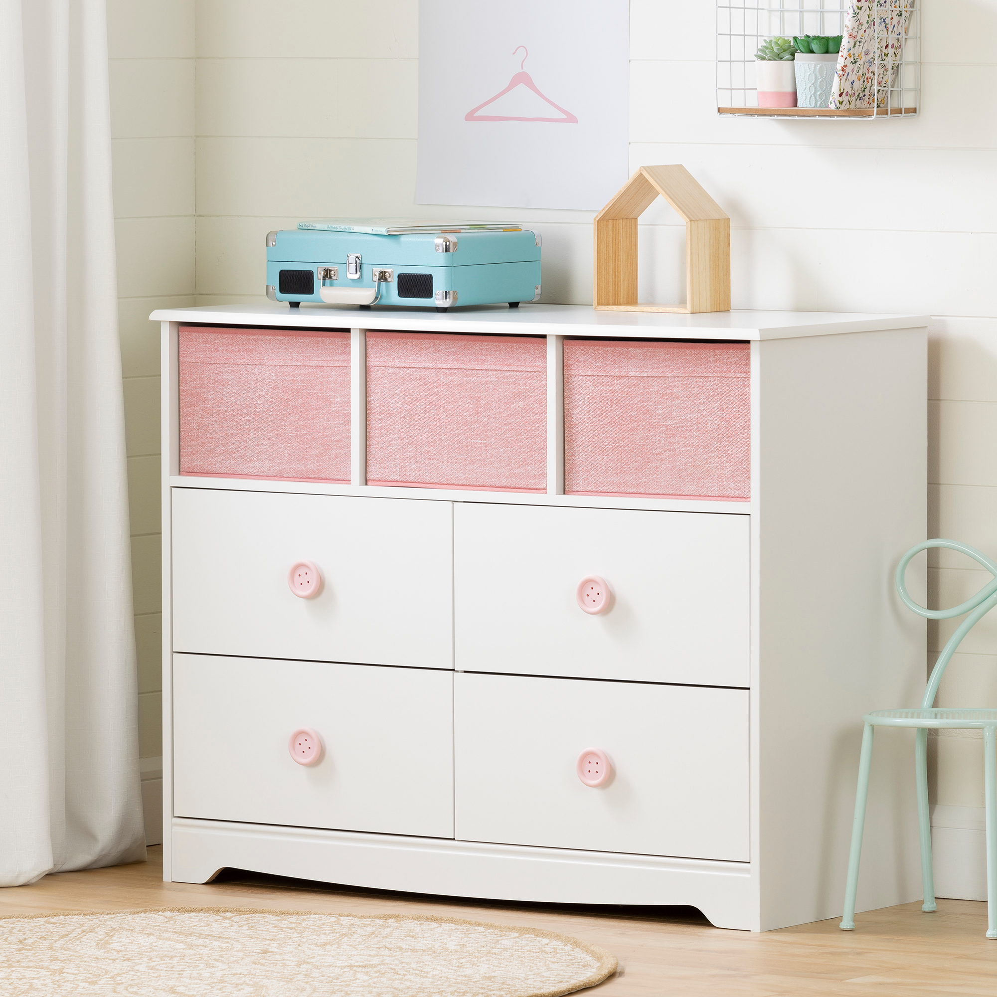 South Shore Sweet Piggy 4-Drawer Dresser with Baskets, White and Pink