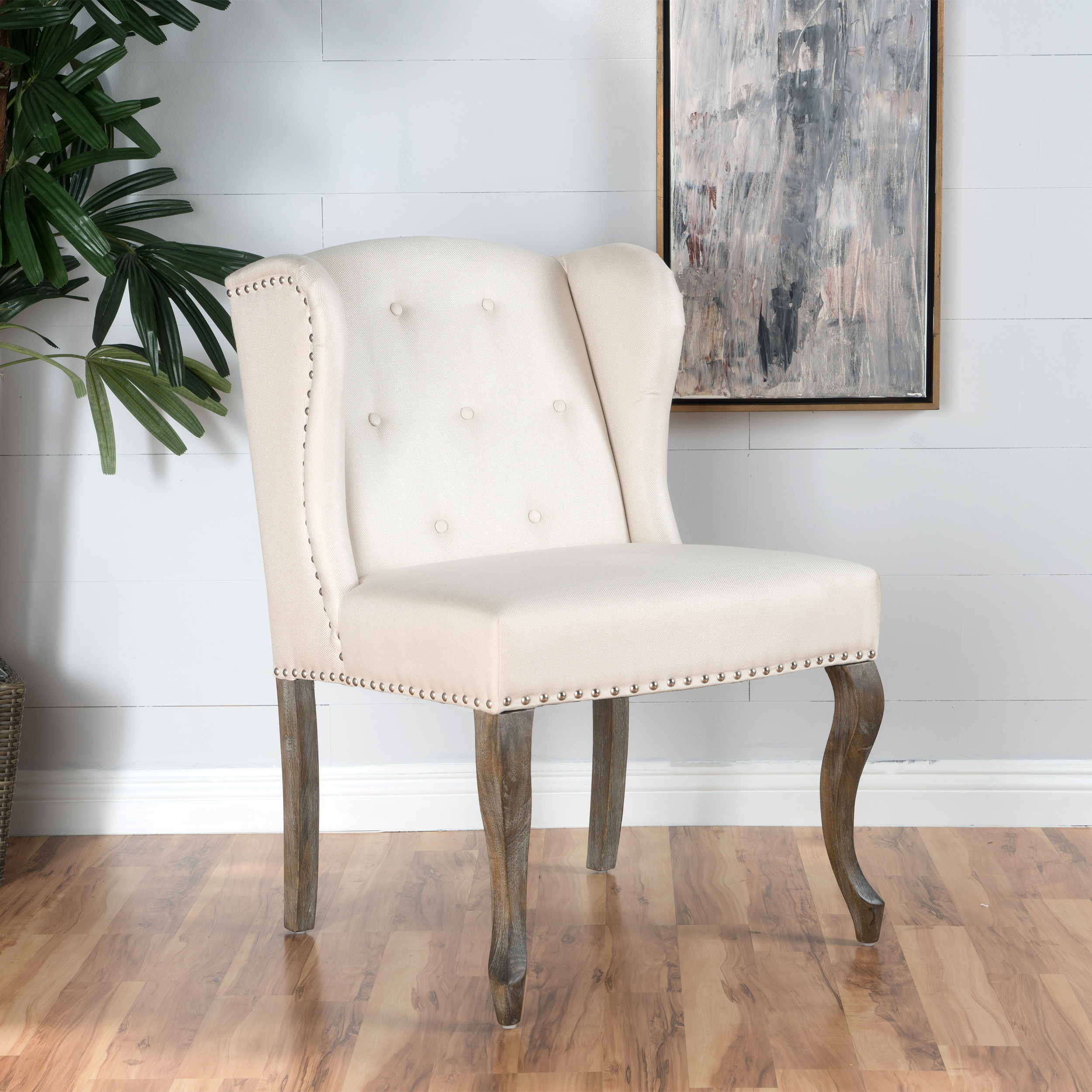 Noble House Naomi Beige Fabric Chair