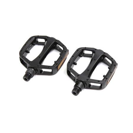 - 2 Pcs Black Aluminium Alloy Reflector Flat Type Nonslip Cycling Bicycle Pedals