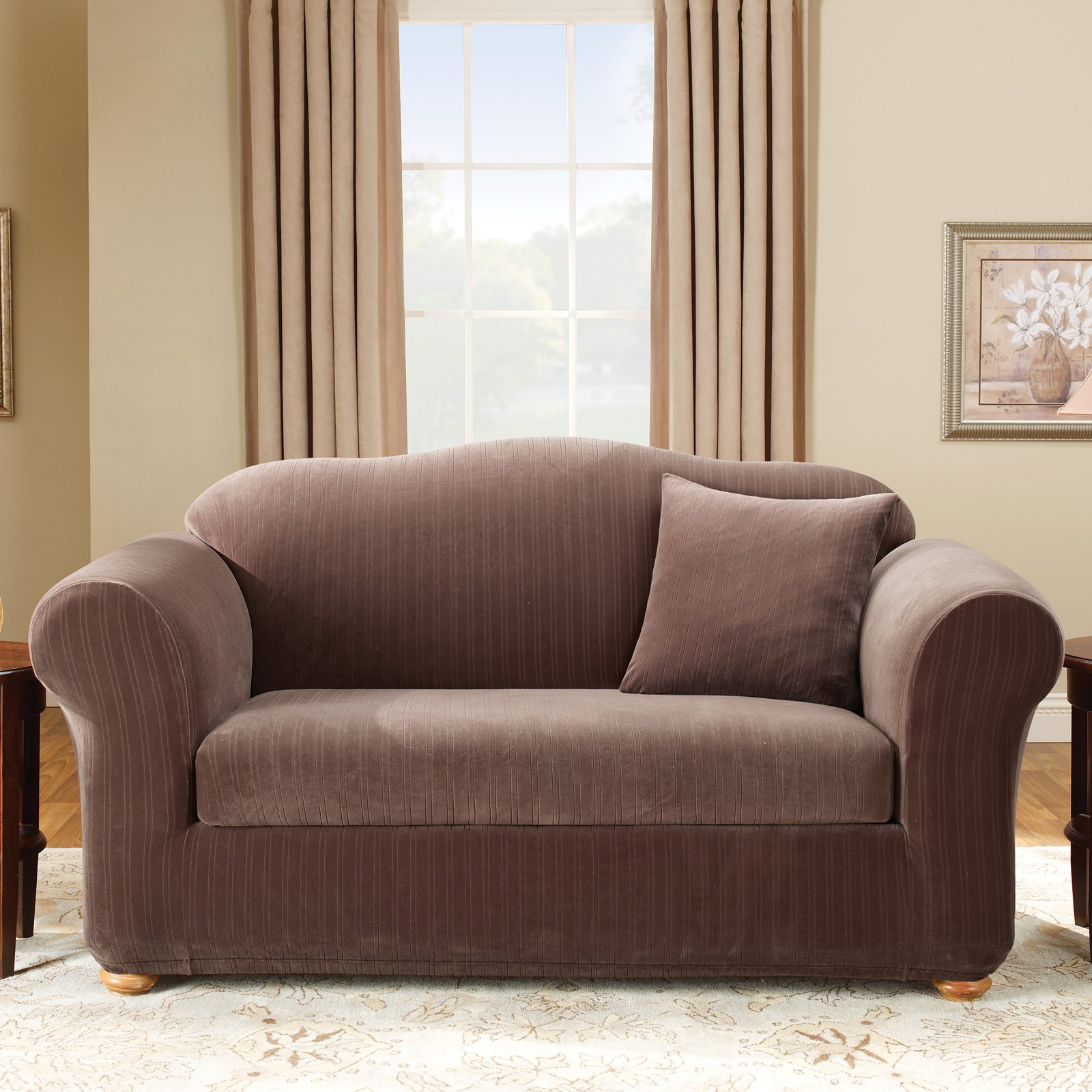 Sure Fit Stretch Pinstripe 2 Piece Sofa Slipcover Walmart