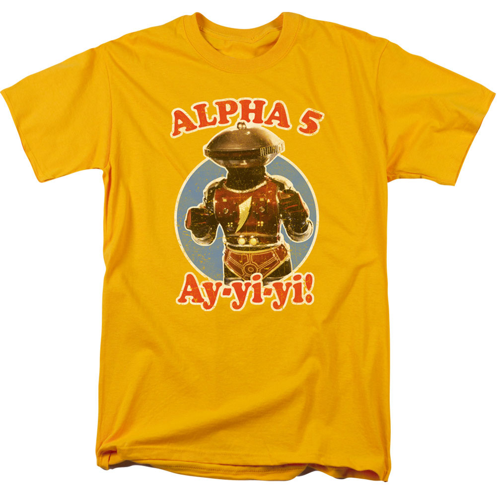 Power Rangers Men's  Alpha 5 T-shirt Gold