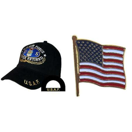 U.S. Air Force Never Retired Hat Cap Black & USA American Flag Lapel Pin