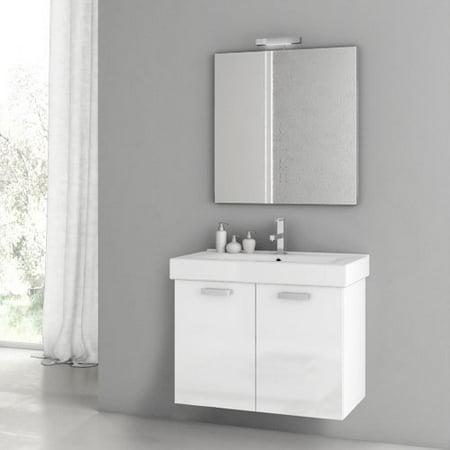 ACF by Nameeks ACF C03-GW Cubical 30-in. Single Bathroom Vanity Set - Glossy White