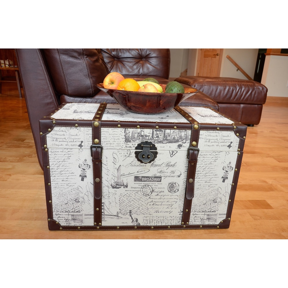 Styled Shopping Inc Decorative New York Medium Wood Steamer Trunk Wooden Treasure Hope Chest