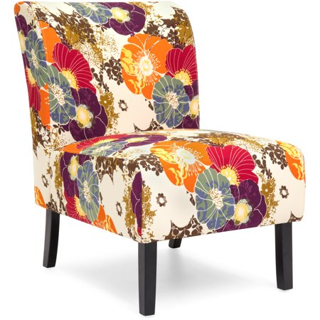 Best Choice Products Polyester Upholstered Modern Armless Accent Chair, Floral (Best Living Room Chairs For Posture)