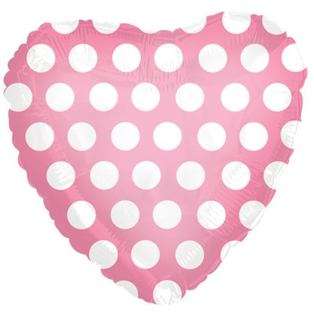 CTI Polka Dot Heart Shaped Valentine 18' Foil Balloon, Pink White (Pink And White Polka Dot Balloons)