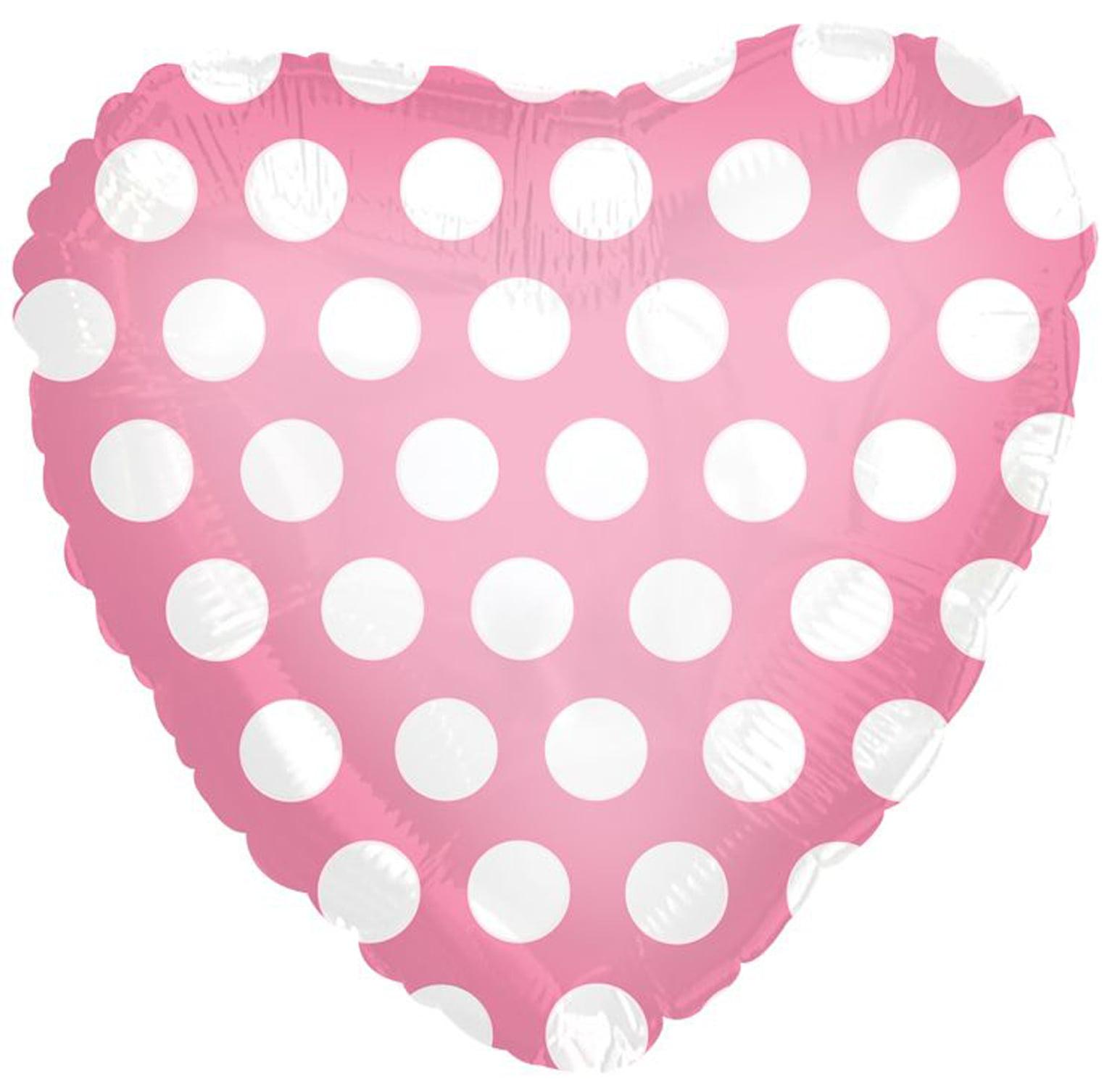 CTI Polka Dot Heart Shaped Valentine 18' Foil Balloon, Pink White
