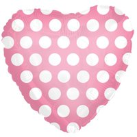 CTI Polka Dot Heart Shaped Valentine 18' Foil Balloon, Pink White