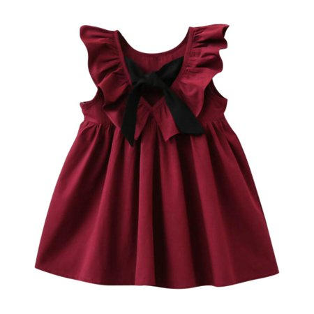 Enjoyofmine Baby Girls Red Bowknot Vest Dress Princess Vest Dress Pleated Skirt Cute Princess Dress