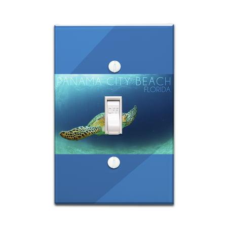 Panama City Beach, Florida - Sea Turtle - Lantern Press Photography (Light Switchplate Cover) (Panama City Stores)