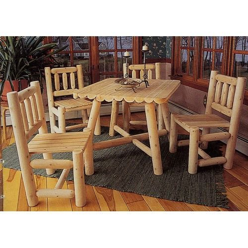 Rustic Natural Cedar Furniture Old Country 5 Piece Square Patio/Dining Set