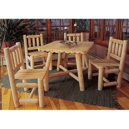 Rustic natural cedar furniture old country 5 piece square for Rustic country dining sets