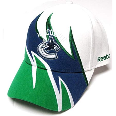 Vancouver Canucks NHL Reebok White Shark Tooth Wave Hat Cap Adult Men's Adjustable (Mens Reebok Hats)