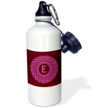 3Drose Monogram E Pink And Magenta Mandala On Rich Wine Red Muted Grunge Damask  Sports Water Bottle  21Oz