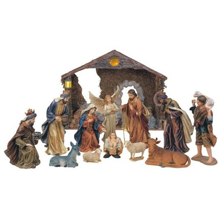 The Holiday Aisle 12 Piece Nativity Set with Manger](Manger Silhouette)