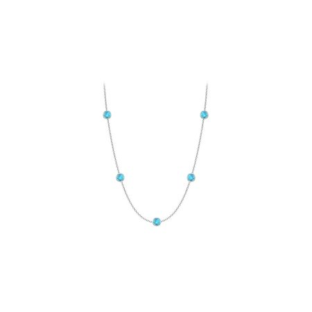 Blue Topaz Station Necklace in 14K white gold 10 Carat with 36 Inch Length - image 2 of 2