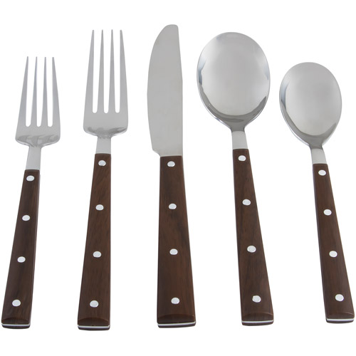 Alpine 20-Piece Flatware Set, Dark Wood