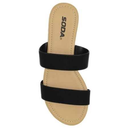 Browse Black Beach Slides Flat Basic Soda Shoes Women Flip Flops Double Straps Gladiator Sandals 5.5