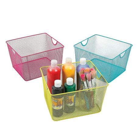 Fun Express - Medium Wire Mesh Storage Bin - Educational - Educational Furniture - Storage - 3 Pieces (Wire Mesh Storage Cubes)
