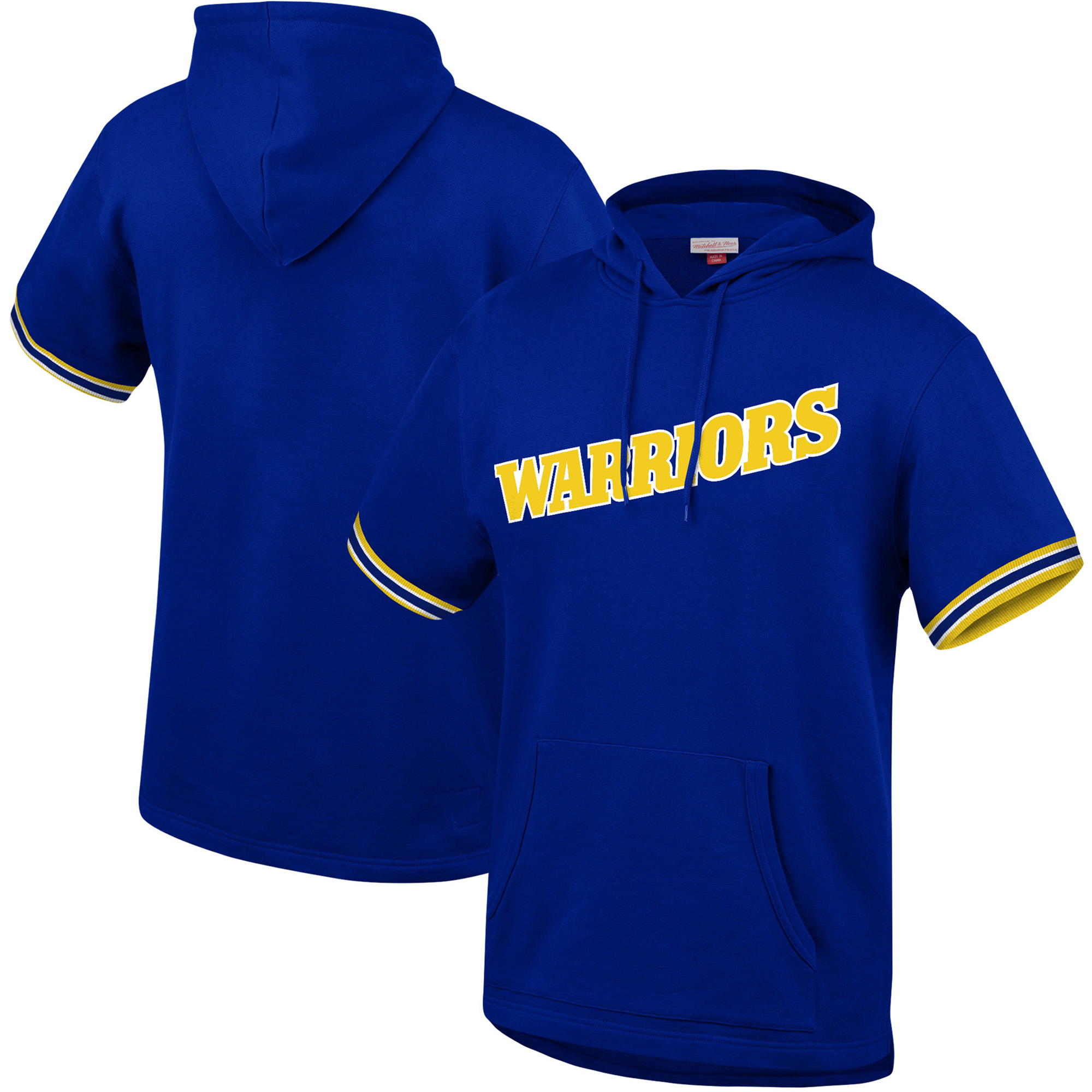 Golden State Warriors Mitchell & Ness Hardwood Classics Throwback French Terry Short Sleeve Pullover Hoodie - Royal