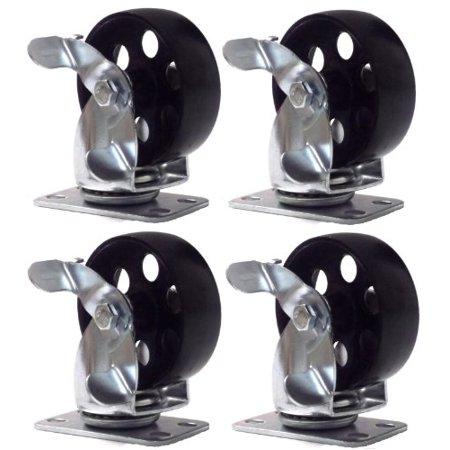 (4 Large All Steel Swivel Plate Caster w/ Brake Lock Heavy Duty 3.5