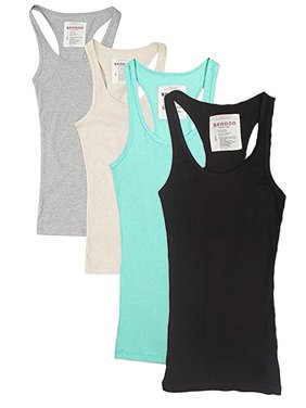 Womens & Juniors Racerback Ribbed Knit Athletic Camisole Long Tank Top - 4 or 6 Pack